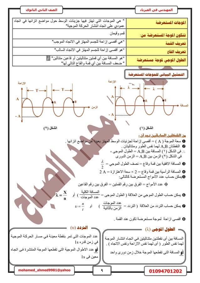 9 01094701202mohamed_ahmed9981@yahoo في المهندسالفيزياءالثانوى الثاني الصف اادلغزؼشػخ دلٕعبداتجا في ...