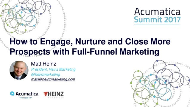How to Engage, Nurture and Close More Prospects with Full-Funnel Marketing Matt Heinz President, Heinz Marketing @heinzmar...