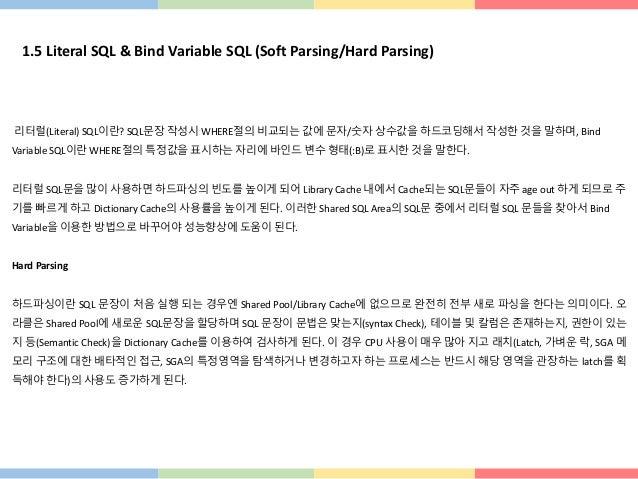 1.5 Literal SQL & Bind Variable SQL (Soft Parsing/Hard Parsing) 리터럴(Literal) SQL이란? SQL문장 작성시 WHERE절의 비교되는 값에 문자/숫자 상수값을 하...