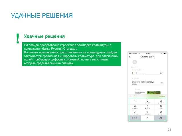 УДАЧНЫЕ РЕШЕНИЯ 23 Удачные решения На слайде представлена корректная раскладка клавиатуры в приложении банка Русский Станд...