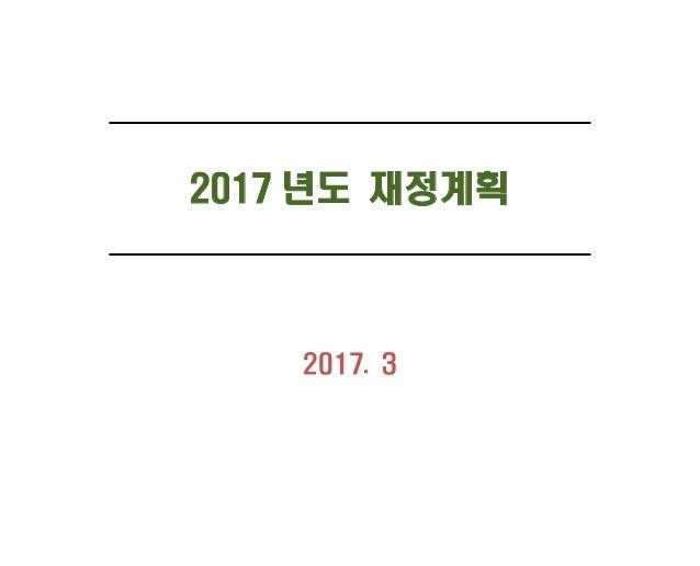 2017 년도 재정계획 2017. 3