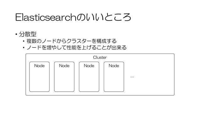 Elasticsearchのいいところ • 分散型 • 複数のノードからクラスターを構成する • ノードを増やして性能を上げることが出来る Cluster Node Node Node Node …