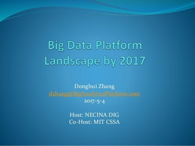 Donghui Zhang dzhang@BigAnalyticsPlatform.com 2017-5-4 Host: NECINA DIG Co-Host: MIT CSSA