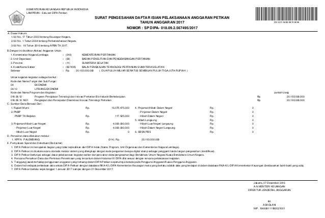 NOMOR : SP DIPA- 018.09.2.567495/2017 TAHUN ANGGARAN 2017 KEMENTERIAN KEUANGAN REPUBLIK INDONESIA LAMPIRAN : Satu set DIPA...