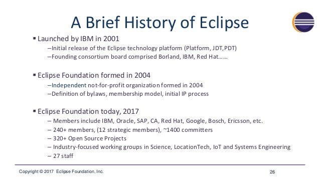 Copyright © 2017 Eclipse Foundation, Inc. Community of Projects 27 Over 320 Projects!