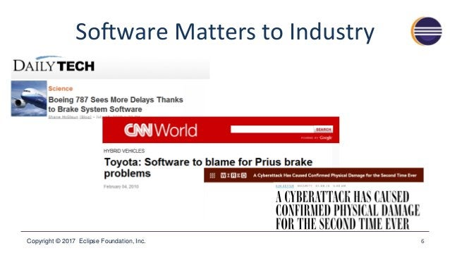 Copyright © 2017 Eclipse Foundation, Inc. Software Matters to Industry 6