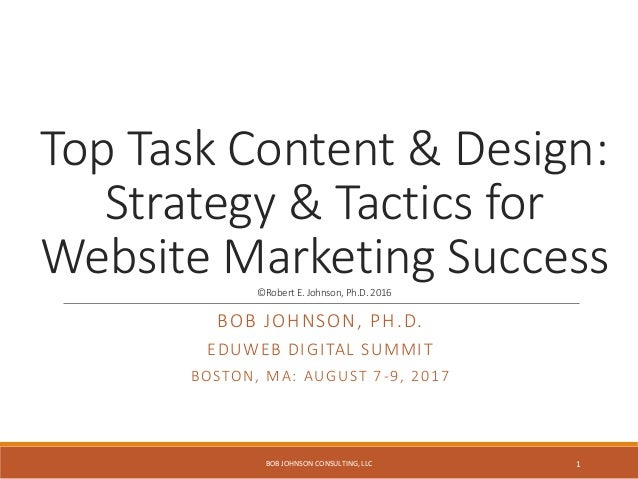 Top Task Content & Design: Strategy & Tactics for Website Marketing Success©Robert E.Johnson, Ph.D. 2016 BOB JOHNSON, PH.D...