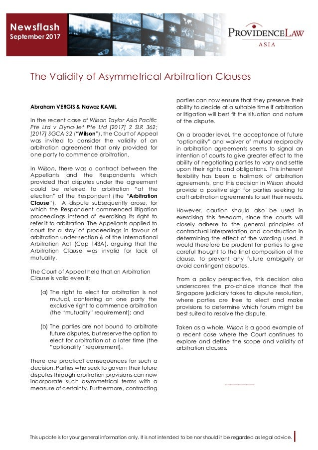 The Validity Of Asymmetrical Of Arbitration Clauses