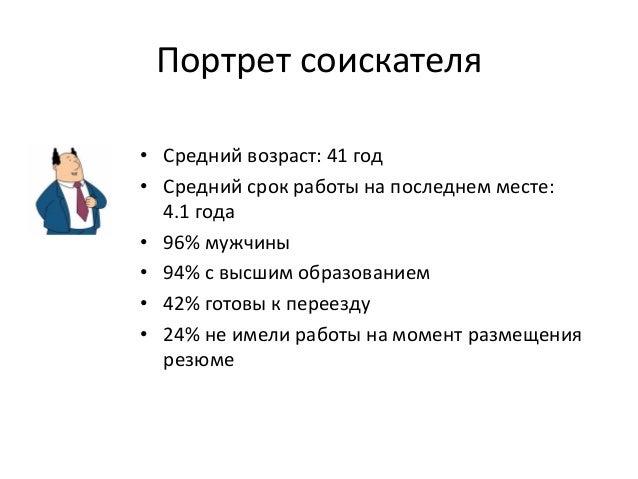 Портрет соискателя • Средний возраст: 41 год • Средний срок работы на последнем месте: 4.1 года • 96% мужчины • 94% с высш...