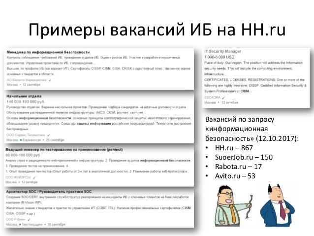 Примеры вакансий ИБ на HH.ru Вакансий по запросу «информационная безопасность» (12.10.2017): • HH.ru – 867 • SuoerJob.ru –...