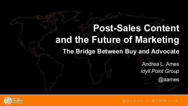 Post-Sales Content and the Future of Marketing The Bridge Between Buy and Advocate Andrea L. Ames Idyll Point Group @aames...