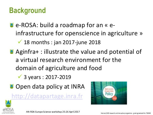 4th RDA Europe Science Workshop - The e-ROSA project Slide 2