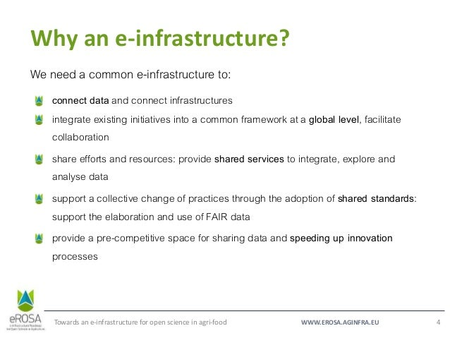 WWW.EROSA.AGINFRA.EU Why an e-infrastructure? Towards an e-infrastructure for open science in agri-food 4 We need a common...