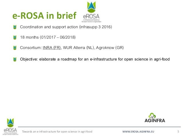 WWW.EROSA.AGINFRA.EU e-ROSA in brief Towards an e-infrastructure for open science in agri-food 5 Coordination and support ...