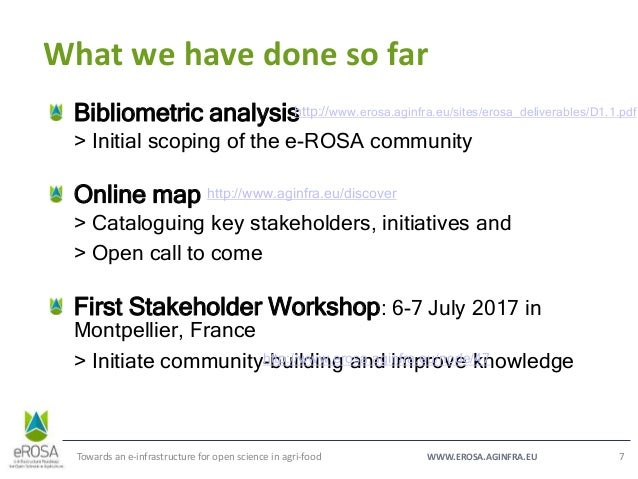 WWW.EROSA.AGINFRA.EU What we have done so far Towards an e-infrastructure for open science in agri-food 7 Bibliometric ana...