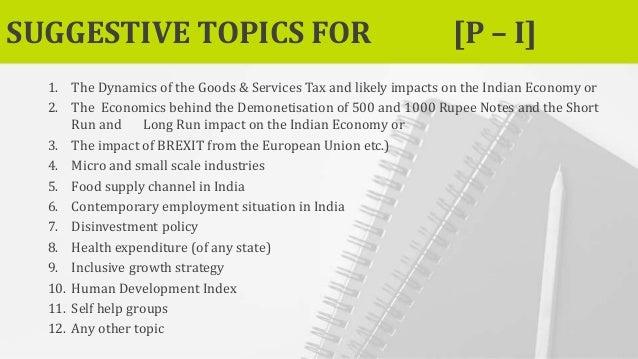 economic research project ideas
