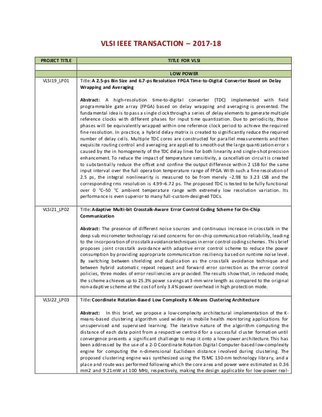 2017 18 ieee vlsi titles,IEEE 2017-18 BULK NS2 PROJECTS