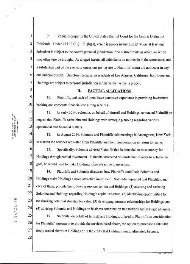 2017 Henry Lorin v Loop Industries Complaint Slide 3