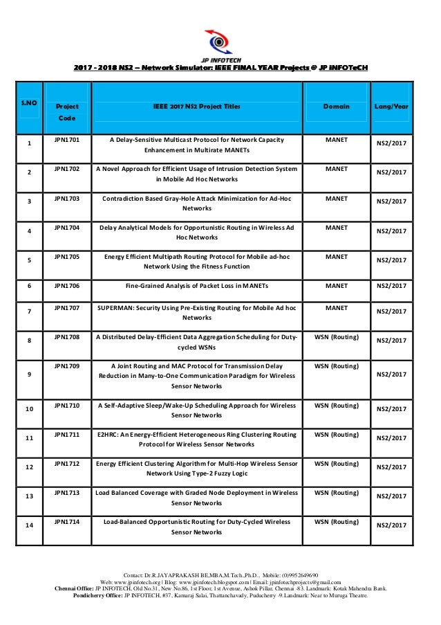 NS2 ieee 2017 project titles   Final Year IEEE 2018 Network