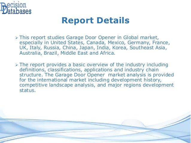 Global Garage Door Opener Industry- Size, Share and Market Forecasts …
