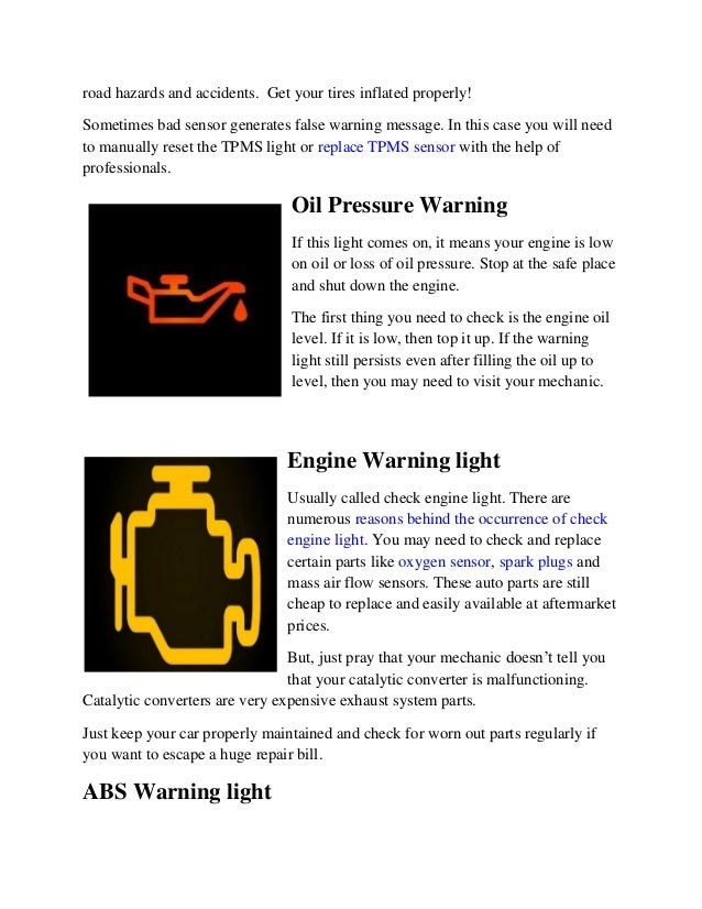 Parts Avatar Auto Performance Parts Warning Lights On Your Dashb