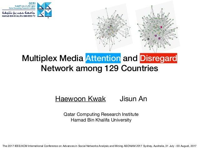Multiplex Media Attention and Disregard Network among 129 Countries Haewoon Kwak Jisun An  Qatar Computing Research Instit...