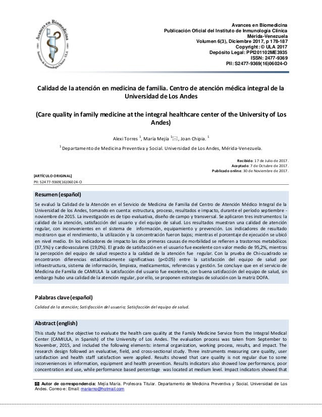 Avances en Biomedicina Publicación Oficial del Instituto de Inmunología Clínica Mérida-Venezuela Volumen 6(3), Diciembre 2...