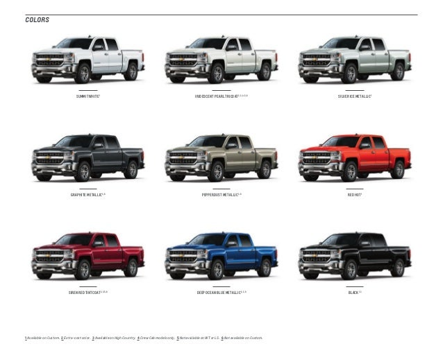2017 chevrolet truck colors