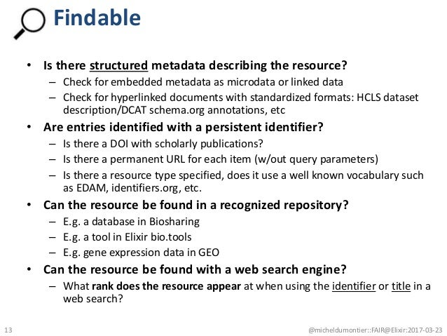 • Is there structured metadata describing the resource? – Check for embedded metadata as microdata or linked data – Check ...