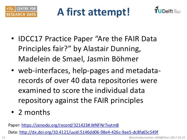 """A first attempt! • IDCC17 Practice Paper """"Are the FAIR Data Principles fair?"""" by Alastair Dunning, Madelein de Smael, Jasm..."""