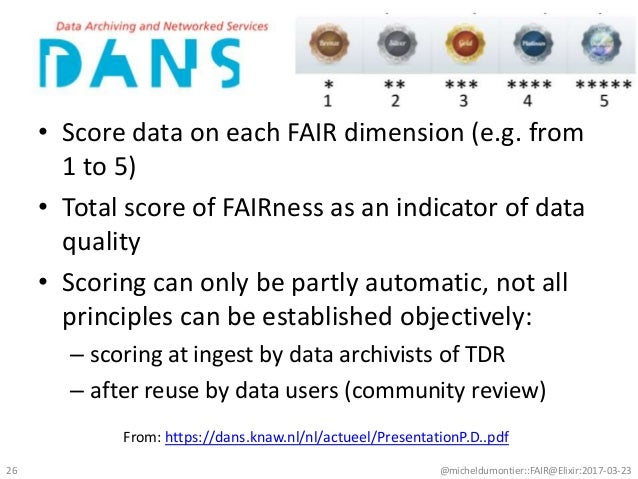 • Score data on each FAIR dimension (e.g. from 1 to 5) • Total score of FAIRness as an indicator of data quality • Scoring...
