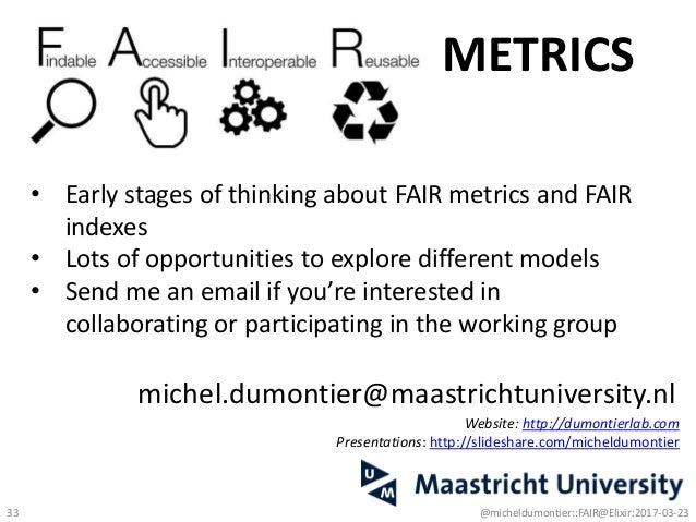 michel.dumontier@maastrichtuniversity.nl Website: http://dumontierlab.com Presentations: http://slideshare.com/micheldumon...