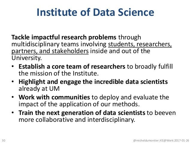 Institute of Data Science Tackle impactful research problems through multidisciplinary teams involving students, researche...