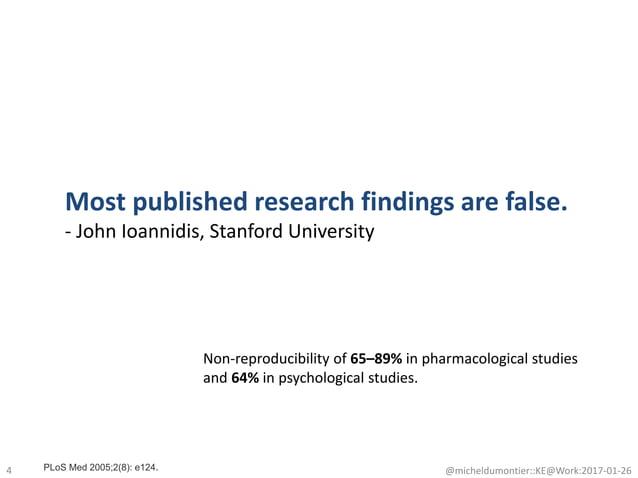 4 @micheldumontier::KE@Work:2017-01-26 Most published research findings are false. - John Ioannidis, Stanford University N...