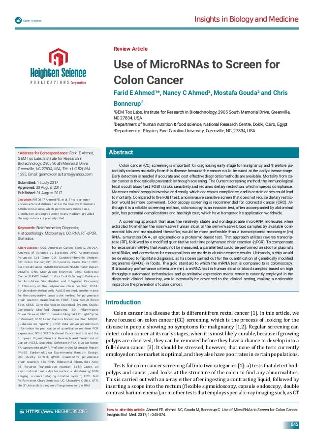 Use Of Micrornas To Screen For Colon Cancer