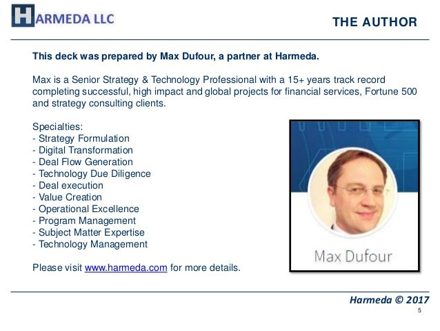5 Harmeda © 2017 THE AUTHOR This deck was prepared by Max Dufour, a partner at Harmeda. Max is a Senior Strategy & Technol...