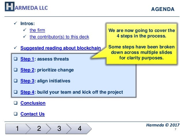 7 Harmeda © 2017 AGENDA  Intros:  the firm  the contributor(s) to this deck  Suggested reading about blockchain  Step...