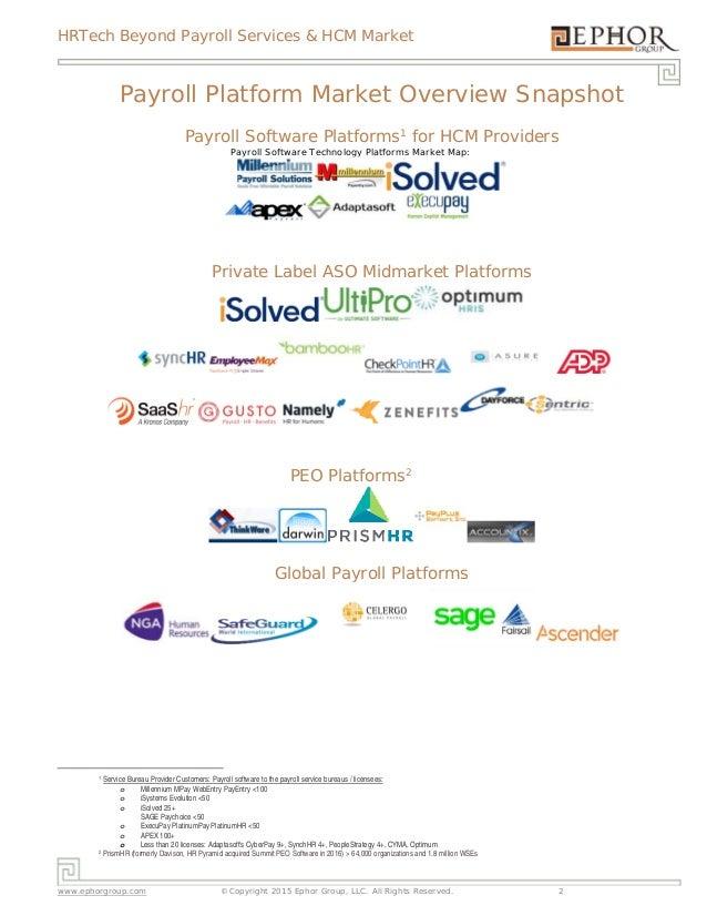 HRTech Beyond Payroll Services & HCM Market www.ephorgroup.com ©Copyright 2015 Ephor Group, LLC. All Rights Reserved. 2  ...