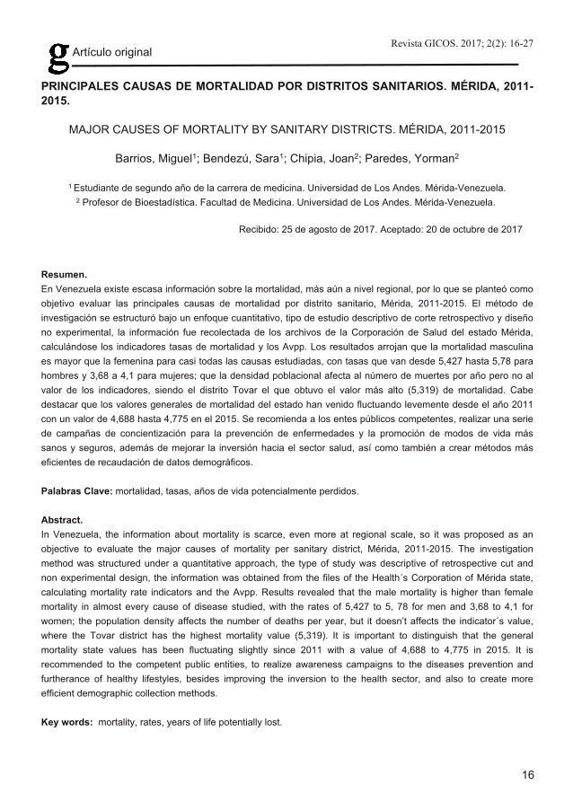 Principales causas de mortalidad por distritos sanitarios. Mérida, 2011-2015
