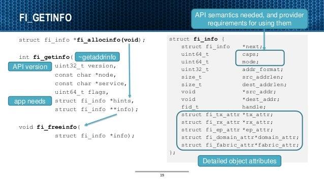 FI_GETINFO struct fi_info *fi_allocinfo(void); int fi_getinfo( uint32_t version, const char *node, const char *service, ui...