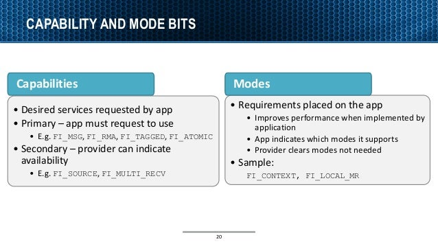 CAPABILITY AND MODE BITS 20 • Desired services requested by app • Primary – app must request to use • E.g. FI_MSG, FI_RMA,...