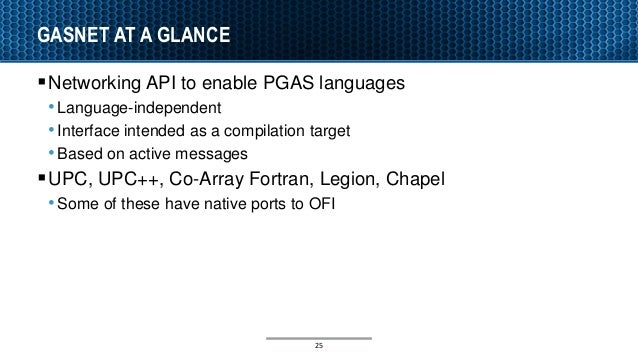 GASNET AT A GLANCE Networking API to enable PGAS languages •Language-independent •Interface intended as a compilation tar...