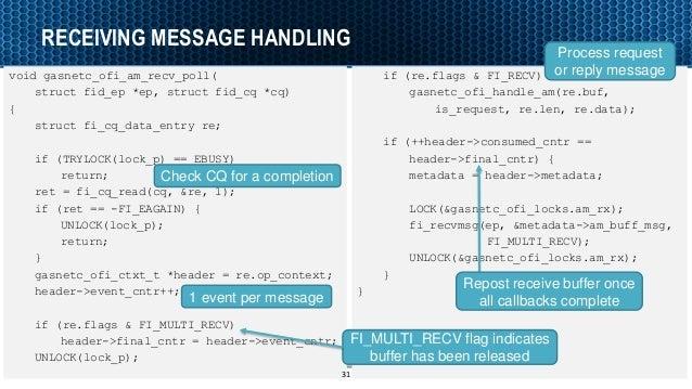 RECEIVING MESSAGE HANDLING void gasnetc_ofi_am_recv_poll( struct fid_ep *ep, struct fid_cq *cq) { struct fi_cq_data_entry ...