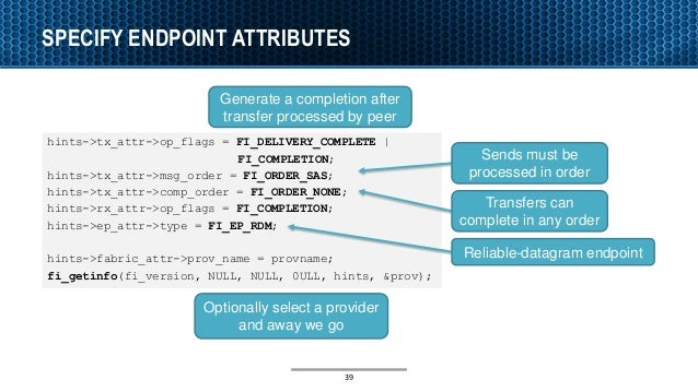 SPECIFY ENDPOINT ATTRIBUTES hints->tx_attr->op_flags = FI_DELIVERY_COMPLETE | FI_COMPLETION; hints->tx_attr->msg_order = F...