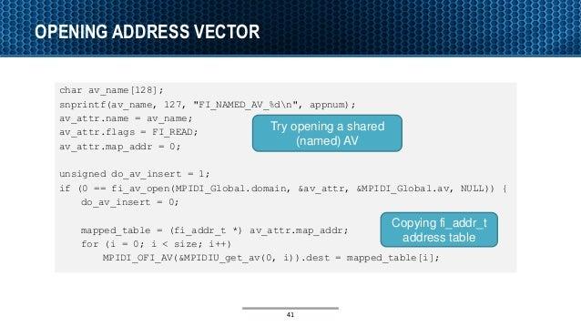 """OPENING ADDRESS VECTOR char av_name[128]; snprintf(av_name, 127, """"FI_NAMED_AV_%dn"""", appnum); av_attr.name = av_name; av_at..."""