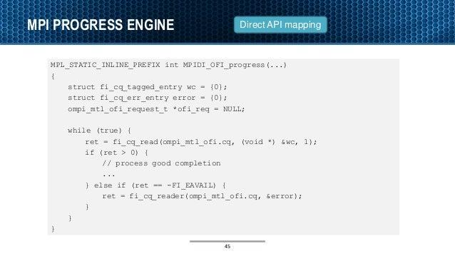 MPI PROGRESS ENGINE MPL_STATIC_INLINE_PREFIX int MPIDI_OFI_progress(...) { struct fi_cq_tagged_entry wc = {0}; struct fi_c...