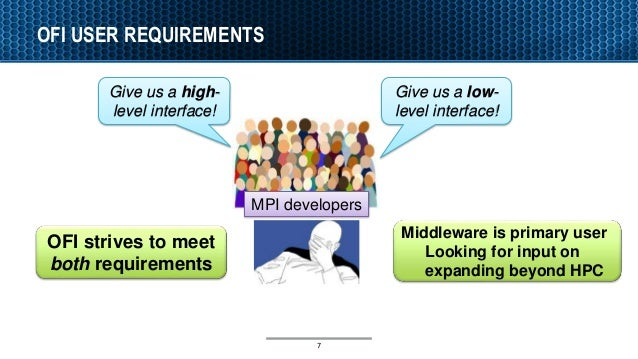 OFI USER REQUIREMENTS 7 Give us a high- level interface! Give us a low- level interface! MPI developers OFI strives to mee...