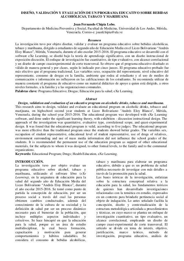 DISEÑO, VALIDACIÓN Y EVALUACIÓN DE UN PROGRAMA EDUCATIVO SOBRE BEBIDAS ALCOHÓLICAS, TABACO Y MARIHUANA Joan Fernando Chipi...