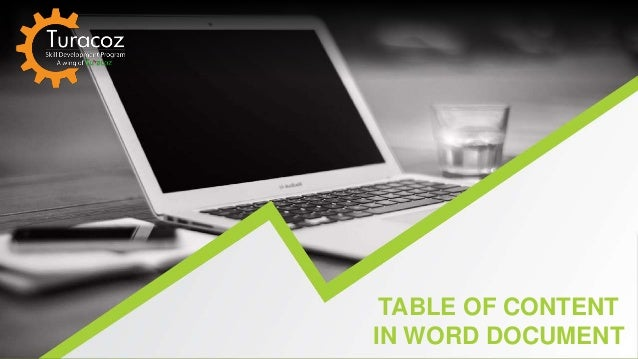 TABLE OF CONTENT IN WORD DOCUMENT