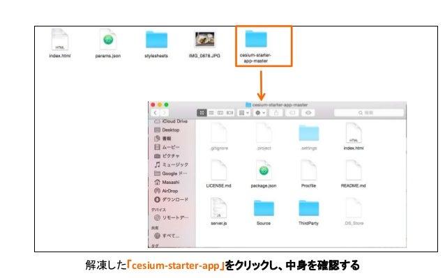 「cesium-starter-app-master」を 先ほど作成したディレクトリにコ ピーする。
